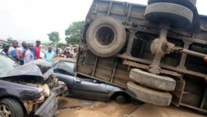 Truck crushes vehicle