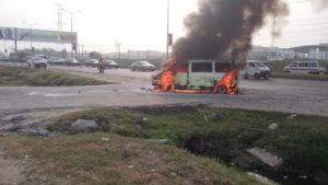 Bus on fire File Photo