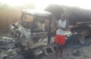 Truck driver sets truck ablaze