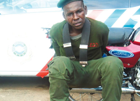 4615ba926069 LEGIONNAIRE ARRESTED FOR STEALING MOTORCYCLES IN LAGOS