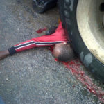 TRUCK CRUSHES OKADA RIDER TO DEATH IN LAGOS (GRAPHIC IMAGE)