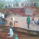 BRIDGE COLLAPSE IN NIGER STATE AFTER HEAVY DOWNPOUR, PASSENGERS STRANDED (PICTURES)