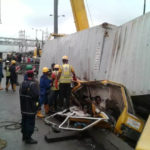5 DEAD, 3 RESCUED ALIVE AS CONTAINER FALLS ON FULLY LOADED BUS IN LAGOS (PICTURES)