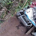 CAR FALLS OFF BRIDGE IN IBADAN LANDING ON A COMMERCIAL BUS (PICTURES)